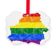 Belarus Rainbow Pride Flag And Map Ornament