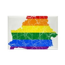 Belarus Rainbow Pride Flag And Map Rectangle Magne