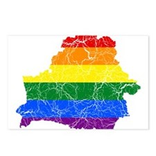 Belarus Rainbow Pride Flag And Map Postcards (Pack
