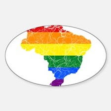 Brazil Rainbow Pride Flag And Map Decal
