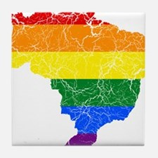 Brazil Rainbow Pride Flag And Map Tile Coaster