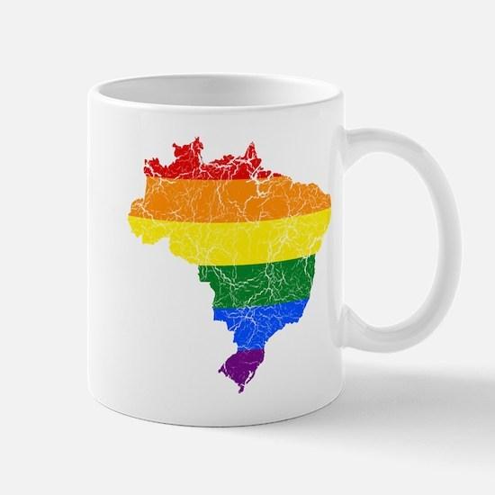 Brazil Rainbow Pride Flag And Map Mug