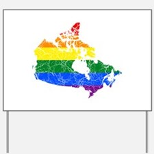 Canada Rainbow Pride Flag And Map Yard Sign