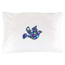 Navy Blue Dove of Flowers Pillow Case