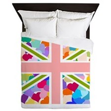 Heart filled Union Jack Flag Queen Duvet