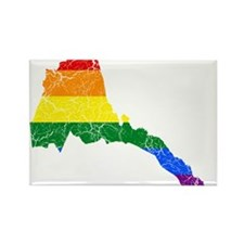 Eritrea Rainbow Pride Flag And Map Rectangle Magne