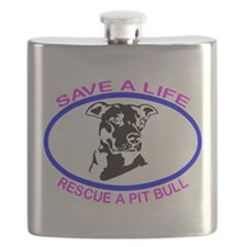 SAVE A LIFE RESCUE A PIT BULL Flask