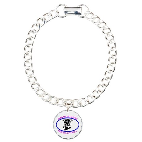SAVE A LIFE RESCUE A PIT BULL Charm Bracelet, One