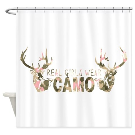 real girls wear camo shower curtain by girlzhuntnfish