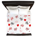 Love Heart Typography Pattern King Duvet