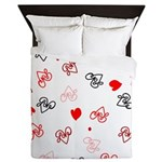 Love Heart Typography Pattern Queen Duvet
