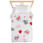 Love Heart Typography Pattern Twin Duvet
