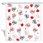 Love Heart Typography Pattern Shower Curtain