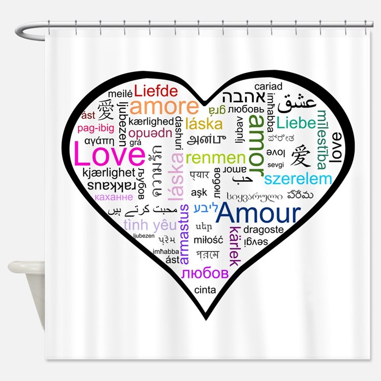 Heart Love in different languages Shower Curtain. The Word Love In Different Languages Bathroom Accessories   Decor