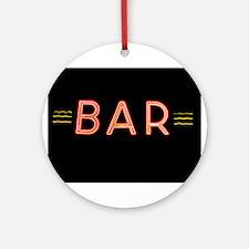 Bright Neon Sign: BAR Ornament (Round)
