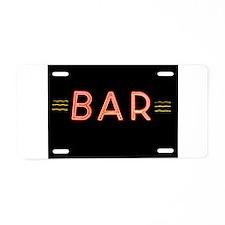 Bright Neon Sign: BAR Aluminum License Plate