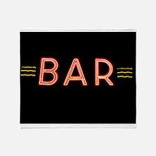 Bright Neon Sign: BAR Throw Blanket