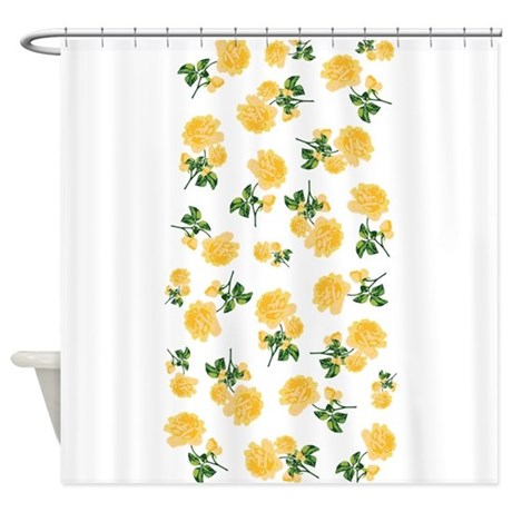 yellow flowers on white shower curtain by inspirationzstore. Black Bedroom Furniture Sets. Home Design Ideas