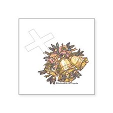Christmas Holiday Bells Cross Square Sticker 3&quo