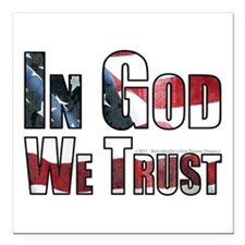 "In God We Trust Square Car Magnet 3"" x 3"""