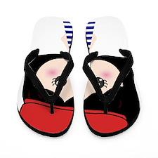 Cute French Girl cartoon Flip Flops