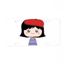 Cute French Girl cartoon Aluminum License Plate