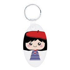 Cute French Girl cartoon Keychains