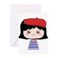 Cute French Girl cartoon Greeting Card
