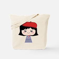 Cute French Girl cartoon Tote Bag