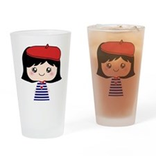 Cute French Girl cartoon Drinking Glass