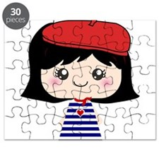 Cute French Girl cartoon Puzzle