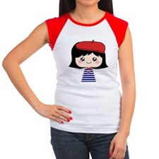 Cute French Girl cartoon Women's Cap Sleeve T-Shir