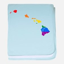Hawaii Rainbow Pride Flag And Map baby blanket