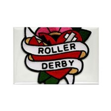 Roller Derby Heart Patch Look Rectangle Magnet (10