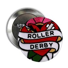 "Roller Derby Heart Patch Look 2.25"" Button (10 pac"
