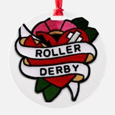 Roller Derby Heart Patch Look Ornament