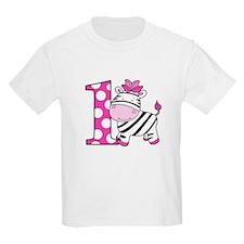 1st Birthday Pink Zebra T-Shirt