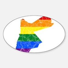 Jordan Rainbow Pride Flag And Map Sticker (Oval)