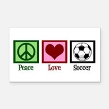 Peace Love Soccer Rectangle Car Magnet