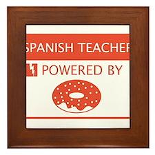 Spanish Teacher Powered by Doughnuts Framed Tile