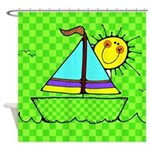 Cute Kids Sailboat Shower Curtain