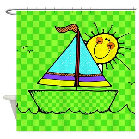 Cute Kids Sailboat Shower Curtain By Stolenmomentsph