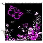 Flower and Butterfly Shower Curtain