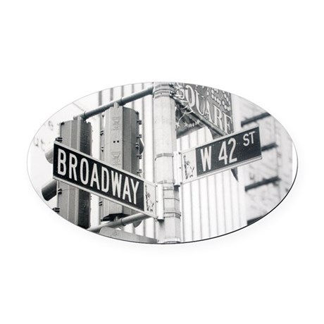 NY Broadway Times Square - Oval Car Magnet