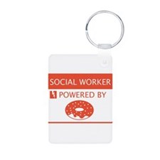 Social Worker Powered by Doughnuts Keychains