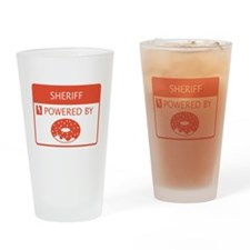 Sheriff Powered by Doughnuts Drinking Glass