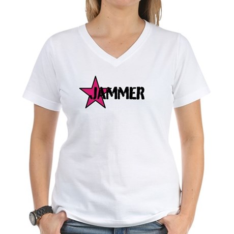 JAMMER PINK W/BLACK Women's V-Neck T-Shirt