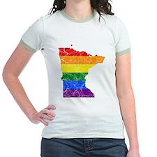 Minnesota Rainbow Pride Flag And Map T