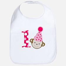 Pink Monkey 1st Birthday Bib