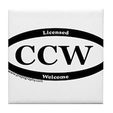 CCW Welcome, Black & White Tile Coaster